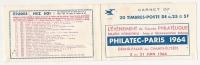 """Carnet De Timbres Vide 20x0.25 = 5F Avec PUB """"PHILATEC-PARIS """" Type S.9-64 DE 1964 . - Carnets"""