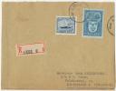 Bel Affranchissement 6.30 Recommandée Vers Le Danemark (enveloppe Réparée, Voir Scan) 1947 - Belgien