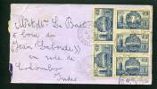 """=*= Rare: 400x5 Sur Lettre Paris>>>>Paquebot """"Jean Laborde"""" En Rade De Colombo Indes 30 11 1938 =*= - Francia"""