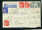 =*= Paix 283x3+365+ 336 + Vignette Sur Lettre Port-Louis Morbihan>>>>Hanoï Tonkin Indochine Par Avion 15 2 1938 =*= - France