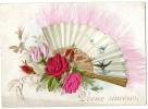Belle CPA  Nouvelle An. Bruxelles An 1900. Un éventail Et De Vraies Plumes, Des Hirondelles En Vol Et Des Roses En Satin - New Year