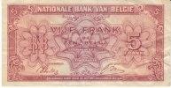 Belgium #121 5 Franc 1 Belga Banknote Currency 1.2.1943 - [ 2] 1831-... : Regno Del Belgio