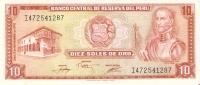 BILLETE DE PERU DE 10 SOLES DE ORO   (BANKNOTE) NUEVO-MINT - Perú