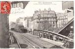 Cp Métro Barbès Clignancourt La Gare 920 Montmartre 1909 - Stations, Underground