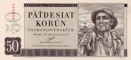 CZECHOSLOVAKIA 50 KORUN 1950 UNC SPECIMEN 2 VARIETY - Tchécoslovaquie