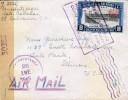 RG)1945 EL SALVADOR, CUSCATLAN BRIDGE, PAN AMERICAN HIGHWAY 8 & 30 CTS, WWII CENSORED, AIR MAIL CIRCULATED COVER TO USA - El Salvador