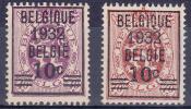 BELGIË - OBP - 1932 - Nr 333/34 - (*) - 1929-1937 León Heráldico