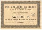 RARE: STE DES ATELIERS DE RABAT (Direction: Rabat MAROC) - Afrique