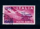 ITALIA 1956 - POSTA AEREA N°153  VISITA DEL PRESIDENTE DELLA REPUBBLICA NEGLI USA E CANADA- USATO - Posta Aerea