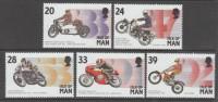 SERIE NEUVE DE L´ILE DE MAN - EVENEMENTS MOTOCYCLISTES : MOTOCYCLISTES ET DATES N° Y&T 586 A 590 - Moto