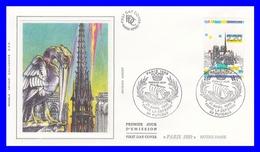 2582 (Yvert) Sur FDC Illustrée Sur Soie - Panorama De Paris. Monuments De La Capitale. Notre Dame - France 1989 - FDC