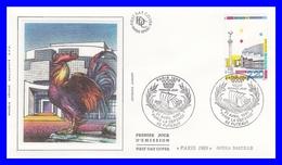 2583 (Yvert) Sur FDC Illustrée Sur Soie - Monuments De La Capitale. Opéra Bastille - France 1989 - FDC