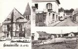 95 GENAINVILLE  ( Vers Magny En Vexin ) CPSM  MULTIVUES EGLISE Monument Aux Morts Automobiles - France