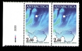 Superb Antarctica Post Joined Pair With Color Lights And Sheet Number 2006.* - Stamps