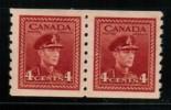 CANADA, 1943,  # 267, KQV1 Era, Pair Of COIL   M NH - 1937-1952 Règne De George VI