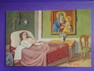 """Cartolina """"Donna Inferma Nel Letto Rosso """" Dipinto P.G.R. Alla Madonna Di S.LUCA, Santuario BOLOGNA - Santini"""