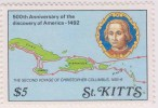 Map, Second Voyage Of Columbus, MNH St Kitts - St.Kitts And Nevis ( 1983-...)