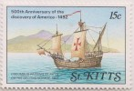 Boat, Mountain, Columbus Passing St Kitts On His Second Voyage Of Columbus, MNH St Kitts - St.Kitts And Nevis ( 1983-...)