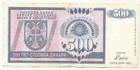 REPUBLIKA SRPSKA - 500 DIN - 1992. - Bosnia And Herzegovina