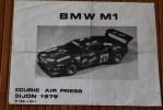 SPORT AUTOMOBILE PAPIER  PUBLICITE SUR LA VOITURE BMW M1 ECURIE AIR PRESS DIJON 1979 - Automobile - F1