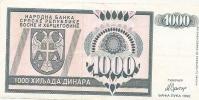 REPUBLIKA SRPSKA - 1000 DIN - 1992. - Bosnia Erzegovina