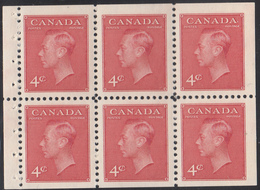 Canada Scott #287bi MNH Booklet Pane Of 6 4c George VI With ´Postes-Postage´ Stitched Tab - Pages De Carnets