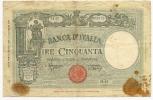 """50 Lire Grande """"L"""" (B.I.) Decr. 08/10/1943 - Azzolini / Urbini (Barbetti) - [ 1] …-1946 : Regno"""