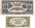 JAPAN INVASION BANKNOTE (JIM) 10 TENTS / 1 DOLLAR MALAYA 1942-45 - Billets