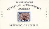 1961  UNESCO 15th Ann.  Airmail Souvenir Sheet  Used   Sc C133 - Liberia
