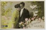 Um 1910/1920 Ansichtskarte Liebespaar,  Gelaufene Karte Mit Frankatur Und Minimalen Alters- Und Beförderungsspuren - Scherenschnitt - Silhouette