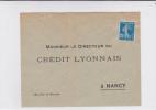 SEMEUSE  - PERFORE C.L Sur ENVELOPPE CREDIT LYONNAIS De NANCY - NEUVE - France