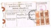 Italia Storia Postale Bollettino Di Spedizione Italia /Usa  17 Sep 1980 Pacchi Postali 2 X £.150 + £. 800 - 6. 1946-.. Repubblica