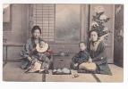 [W817] Tea Ceremony & Geisha Japan Vintage Ca 1900 Postcard - - Ethniques & Cultures