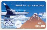 TELEFOONKAART JAPAM * KLM * Telecarte Japon (10) Vliegtuig - Airplane * Avion - Jet - Avions - Aérienne - Flugzeug - Vliegtuigen