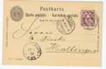Switserland:  1898 Carte Postale (IX94) From Basel -> Haltingen, Mit Zusatzfrankatur - Postwaardestukken