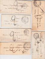 RHONE - 1830/1850 - 6 LETTRES Avec CORRESPONDANCES De VILLEFRANCHE Sur SAONE Avec DIVERS CACHETS Et TAXES - 1801-1848: Precursores XIX