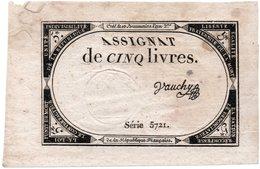 Assignat De 5 Livres République. Signé VAUCHY Brumaire Francia - Otros