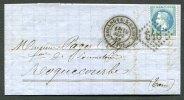 BOULOGNE-S-GESSE (30) Haute-Garonne. Gros Chiffres 548 / 29 + C. 17  Sur Lettre Pour Roquecourbe 1869 - Marcophilie (Lettres)