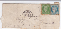SAONE ET LOIRE - AFFRANCHISSEMENT Du 1 SEPT 1871 - YVERT N°20+37 MIXTE NAPOLEON / SIEGE Sur LETTRE De MACON - Marcophilie (Lettres)