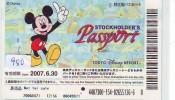 Disney Passeport Entreecard JAPON * TOKYO DISNEYLAND * STOCKHOLDERS  Passport (980) JAPAN * - Disney