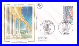 2704 (Yvert) Sur FDC Illustrée Sur Soie - Série Touristique. Le Pont De Cheviré à Nantes - France 1991 - FDC