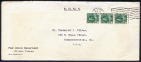 1922 OHMS Letter To The USA  Strip Of 3 1 ¢ Admiral Coil Stamps Perf 12 Sc 131 - Cartas