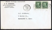 1943  Letter To USA   Pair Of  2 ¢ «Arch» Coil Stamps Sc 180 - Cartas