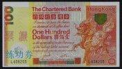 Test/training Note Aus CHINA, 100 Dollar HONG KONG, Beids. Druck, RRR, Used ( 2), Reverse Dirty - Hong Kong