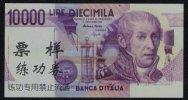 Test/training Note Aus CHINA, 10000 Lire ITALIA, Beids. Druck, RRR, UNC - Italien