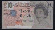 Test/training Note Aus CHINA, 10 Pounds UK, Type B, Beids. Druck, RRR, UNC - Ver. Königreich