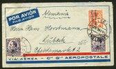 Enveloppe Aéropostale Avec 20 X2 + 50 Centimos Alphonse XIII Type VAQUER Perfil Oblt BARCELONA Pour LUBECK - 1931-Oggi: 2. Rep. - ... Juan Carlos I