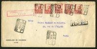GUERRE D'ESPAGNE (SPANISH WAR) Enveloppe RECOMMANDEE Affrt à 5 Timbres De Oblt + Censure De VIGO Pour PARIS - 1931-Oggi: 2. Rep. - ... Juan Carlos I