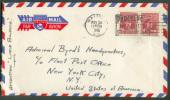 CANADA - 4 Cent. (paire) Obl. Mécanique HALIFAX S/L. Par Avion Du 30 Nov. 1946 Vers New York - Verso = Canadian Pacific - Philatélie Polaire