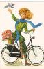 18645 Dessin Femme Année 1970 . Velo Fleur -coupe D´or Du Bon Gout Glacée 50971 - Non Signée - Femmes